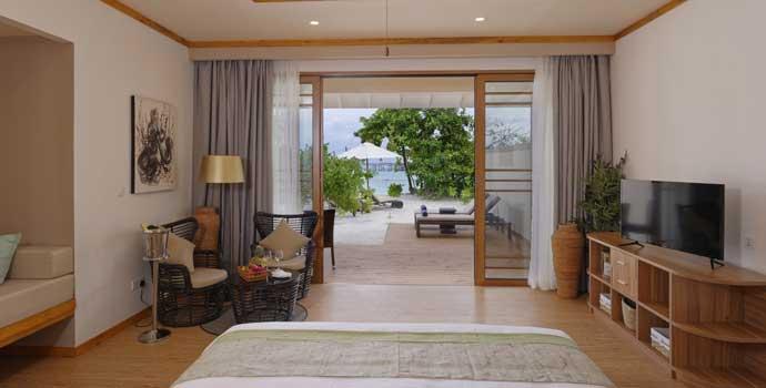 Schlafbereich, Beach Villa, Brennia Kottefaru