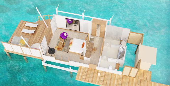 Grundriss, Water Bungalow, Cinnamon Hakuraa Huraa Maldives