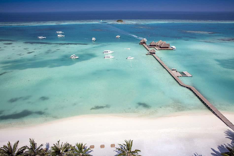 Luftansicht auf den Strand und das Meer, Club Med Kani, Maldives
