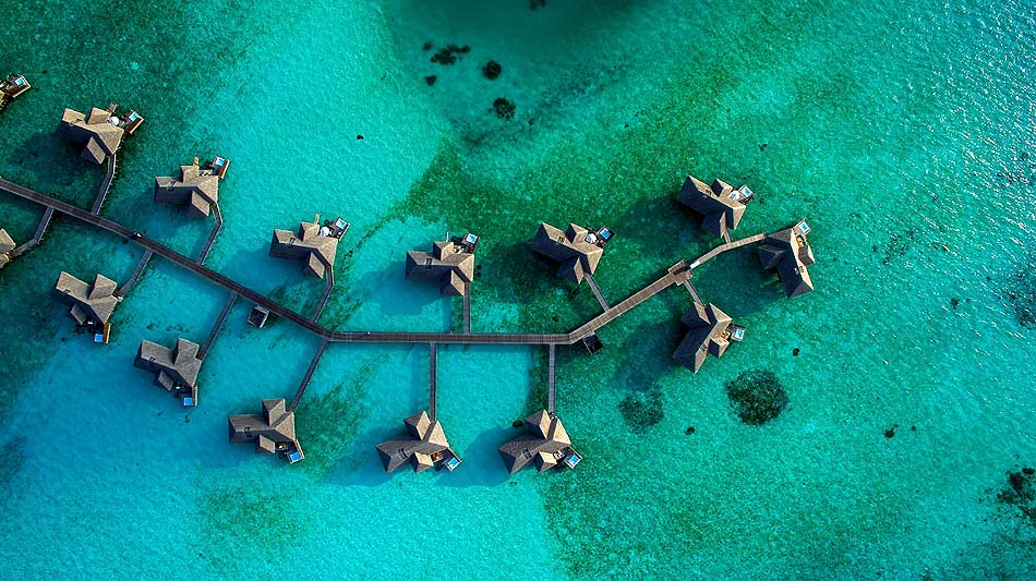 Retreat Water Villa, Blick von oben, Conrad Maldives Rangali Island, Maldives