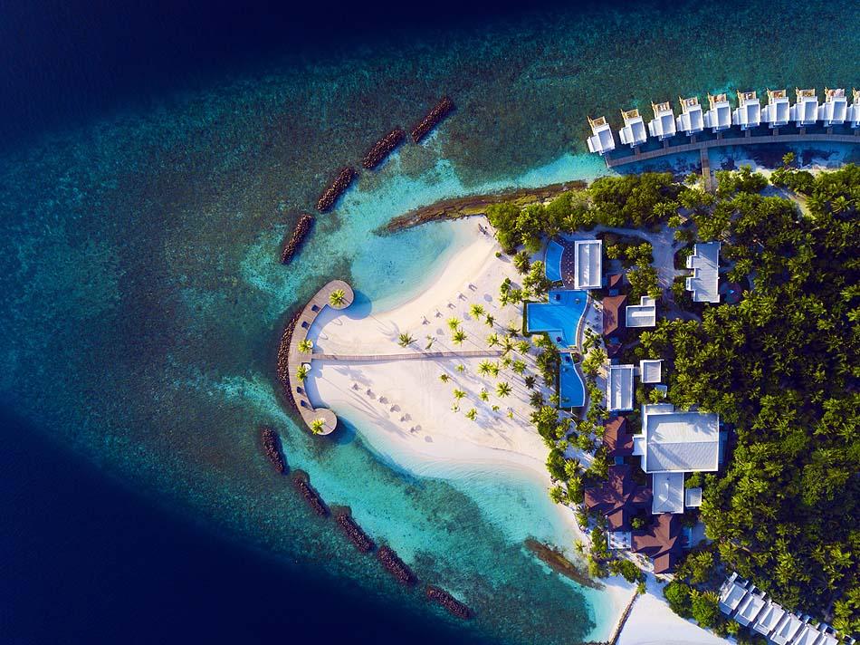 Vogelperspektive vom Strand, Dhigali Maldives