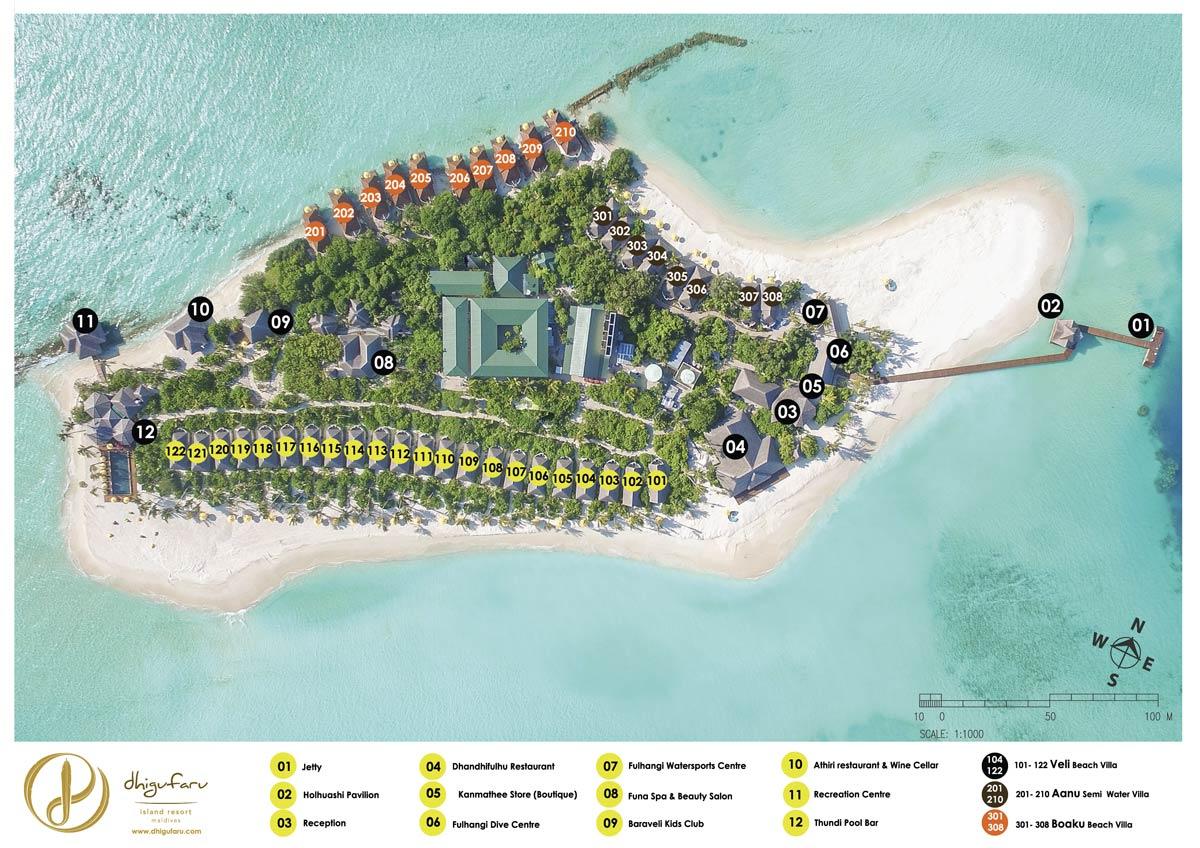 Lageplan Dhigufaru Island Resort