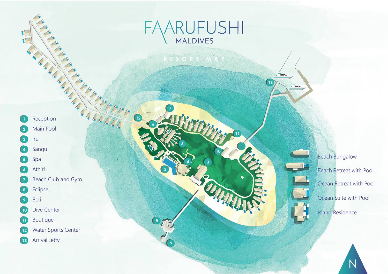 Lageplan Faarufushi Maldives