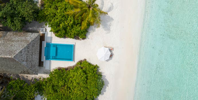 Luftaufnahme, Beach Retreat with Pool, Faarufushi Maldives