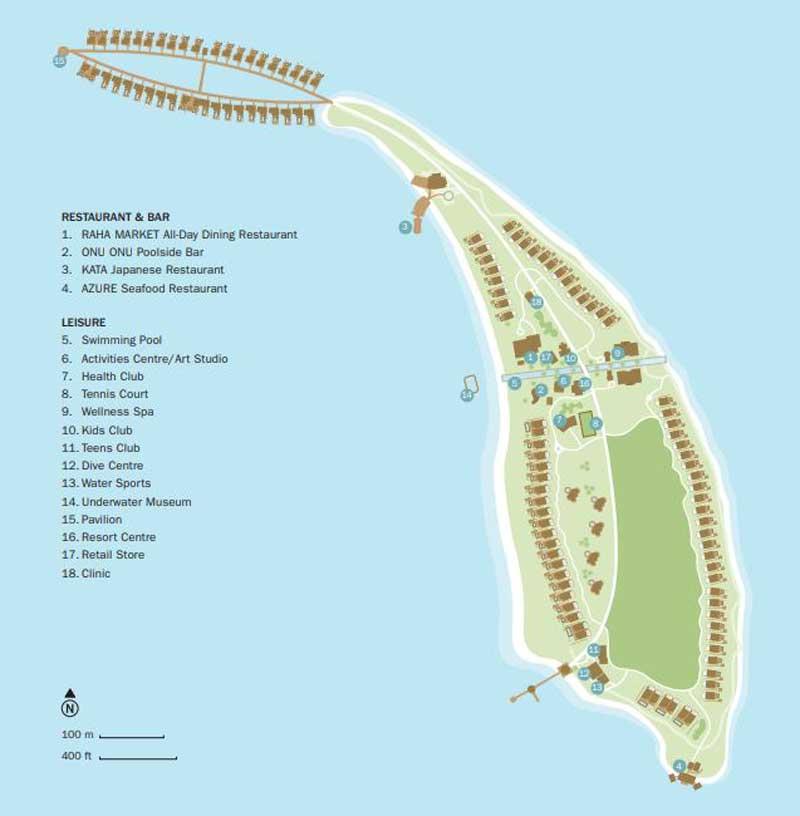 Lageplan Fairmont Maldives Sirru Fen Fushi