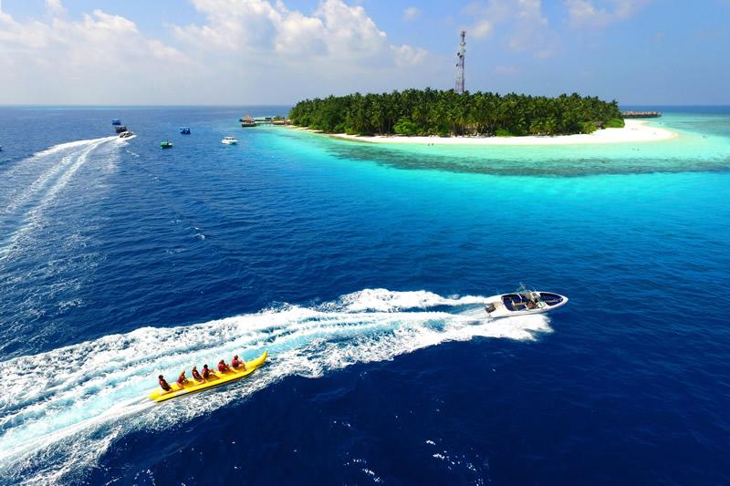 Bananaboot fahren, Luftansicht, Fihalhohi Island Resort, Maldives