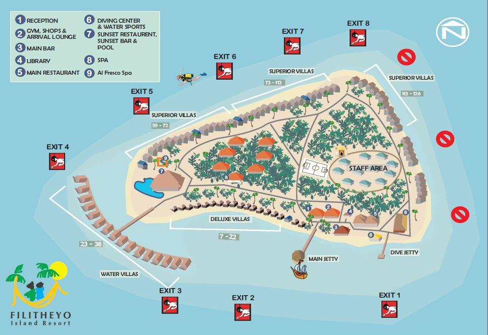 Lageplan Filitheyo Island Resort