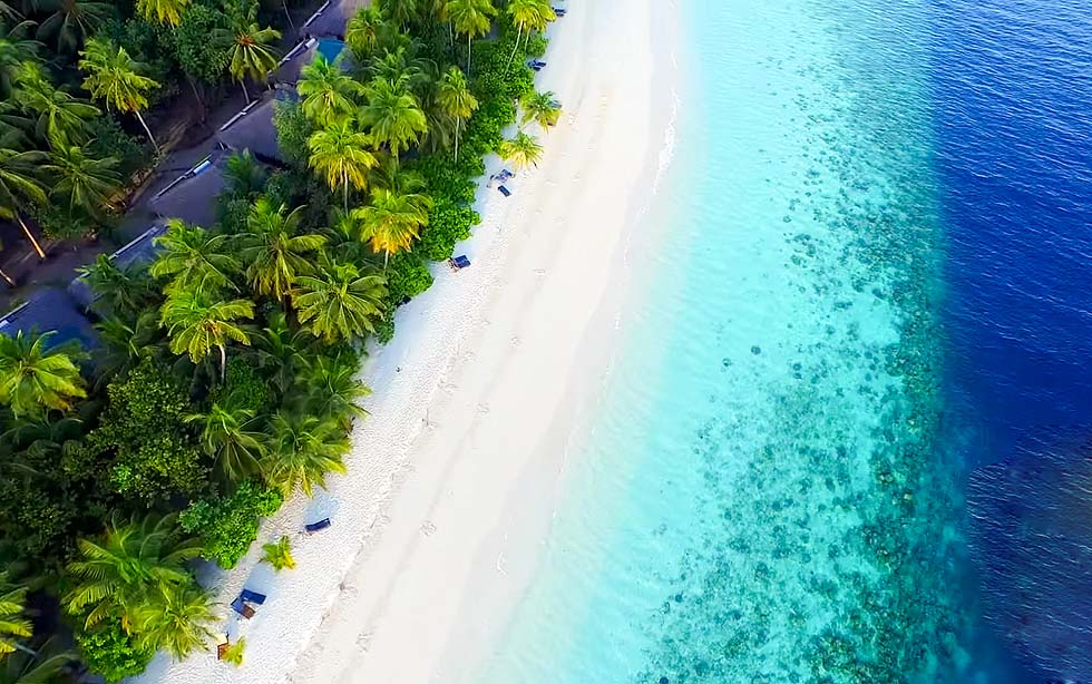 Vogelperspektive, Strand, Filitheyo Island, Malediven