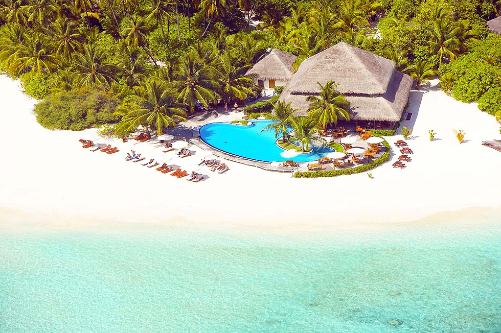 Vogelperspektive, Pool, Filitheyo, Maldiven