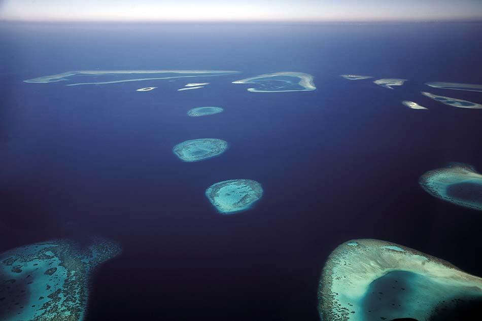 Luftansicht auf Nord Male Atoll, Four Seasons Resort Maldives at Kuda Huraa