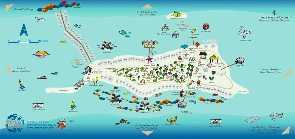 Lageplan Four Seasons Resort Maldives at Landaa Giraavaru