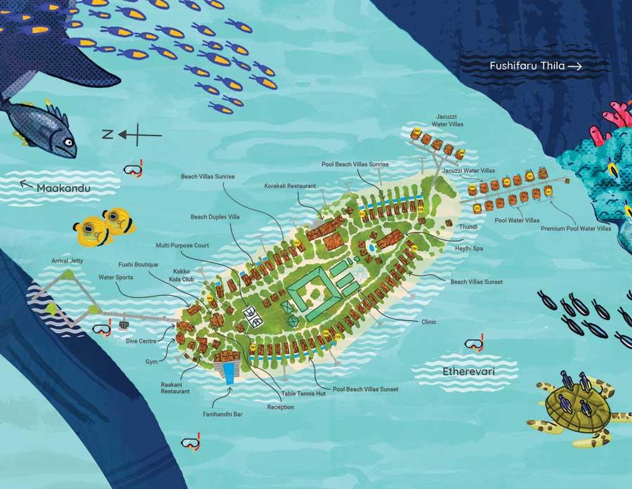 Lageplan Fushifaru Maldives
