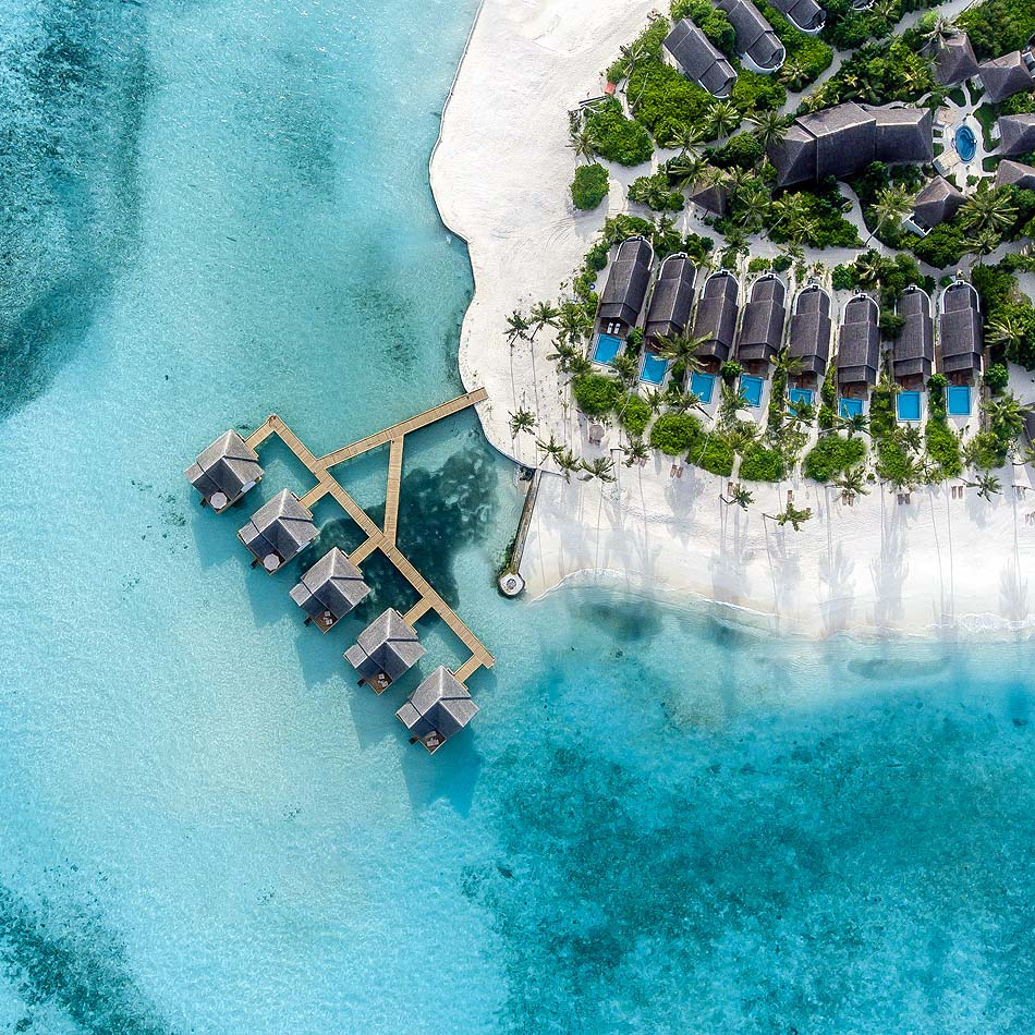 Water Villa und Beach Pool Villa, Vogelperspektive, Fushifaru Maldives