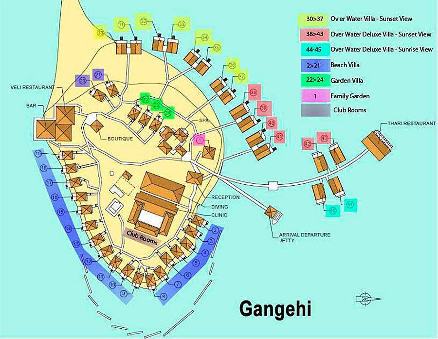 Lageplan Gangehi Island Resort