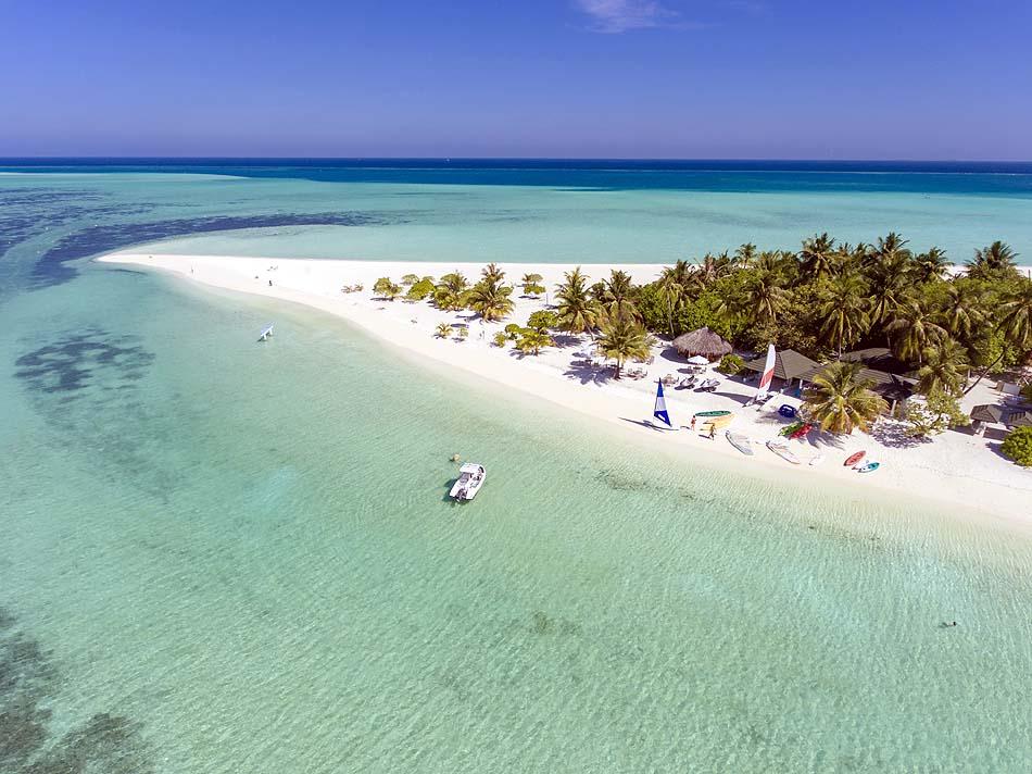 Vogelperspektive von der Insel, Holiday Island Resort & Spa, Maldives