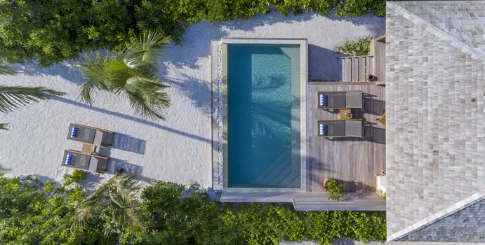 Luftaufnahme, Beach Sunset Pool Villa, Hurawalhi Island Resort