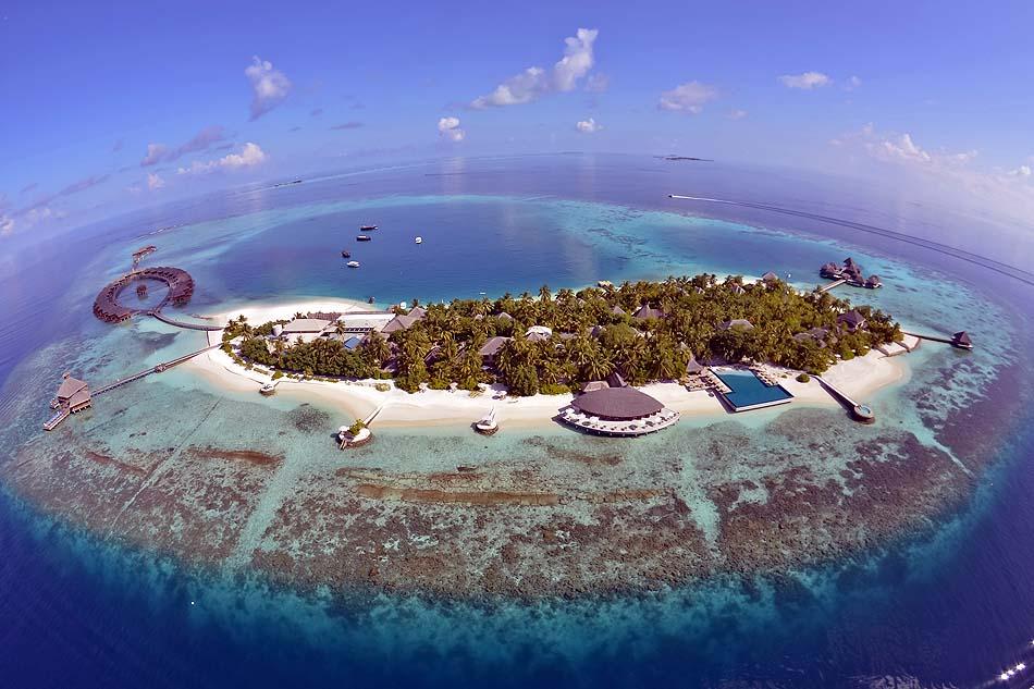 Blick von oben, Weitwinkelperspektive, Strand, Wasser, Huvafen Fushi Maldives