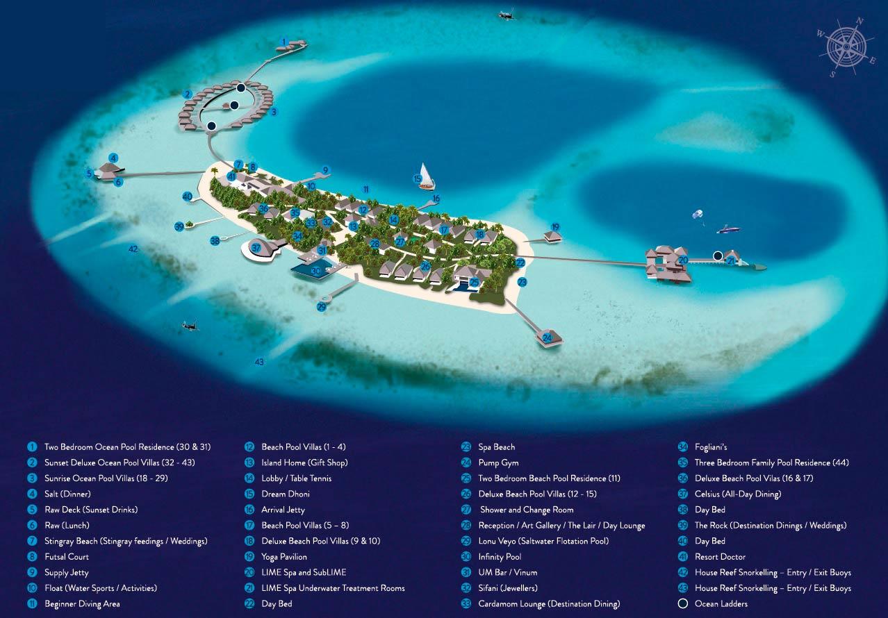 Lageplan Huvafen Fushi Maldives