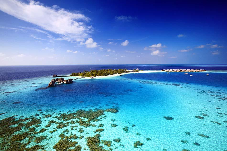 Vogelperspektive, Insel, Atoll, Nord Male, türkisblaues Wasser, Huvafen Fushi Maldives
