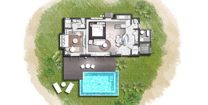 Grundriss, Family Beach Pool Villa, InterContinental Maldives Maamunagau Resort
