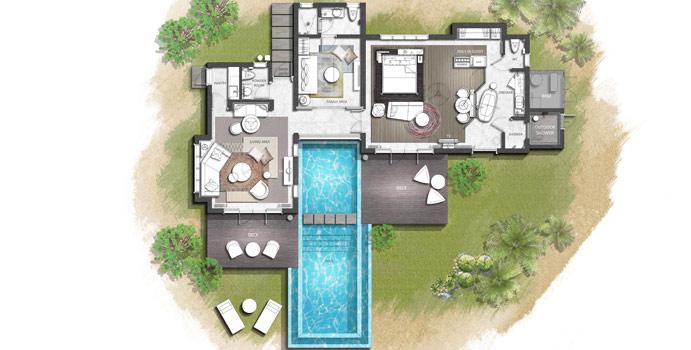 Grundriss, Two Bedroom Family Beach Pool Villa, InterContinental Maldives Maamunagau Resort