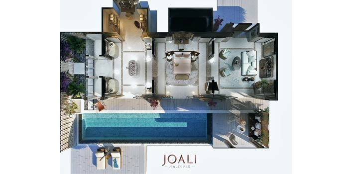 Grundriss, Luxury Water Villa with Pool, JOALI Maldives