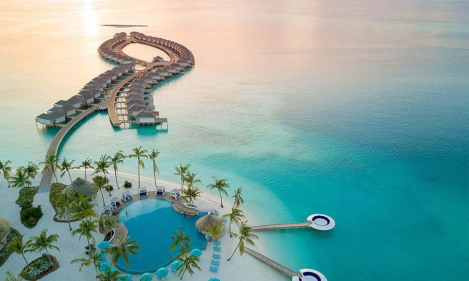 Vogelperspektive, Beach Club, Water Villen, Kandima Maldives