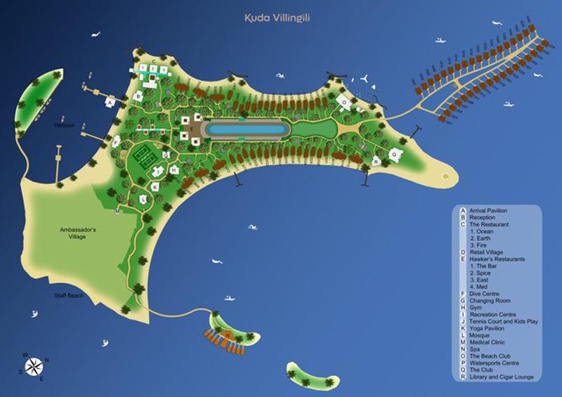 Lageplan Kuda Villingili Resort Maldives