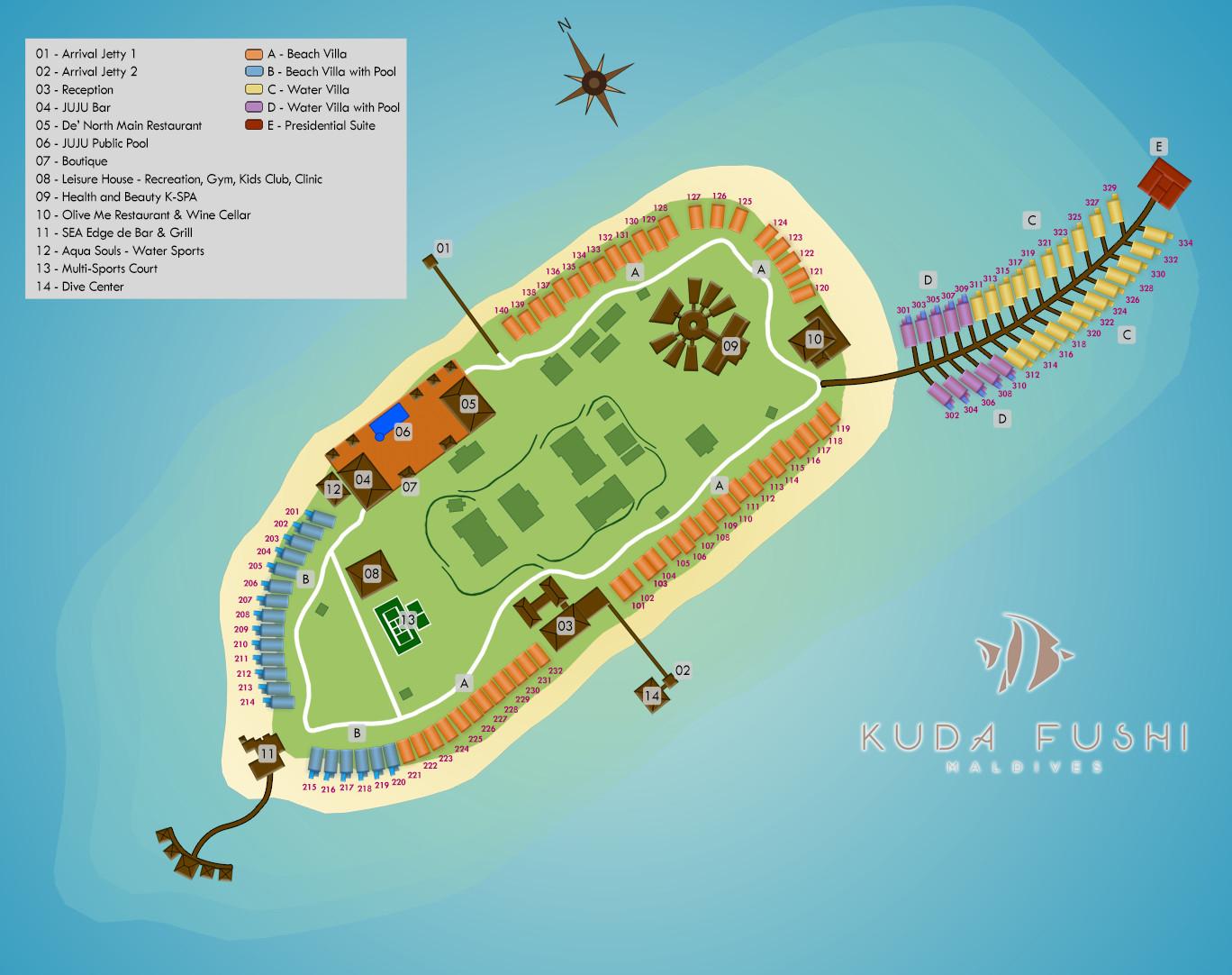 Lageplan Kudafushi Resort & Spa