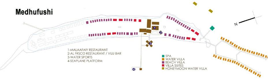 Lageplan Medhufushi Island Resort