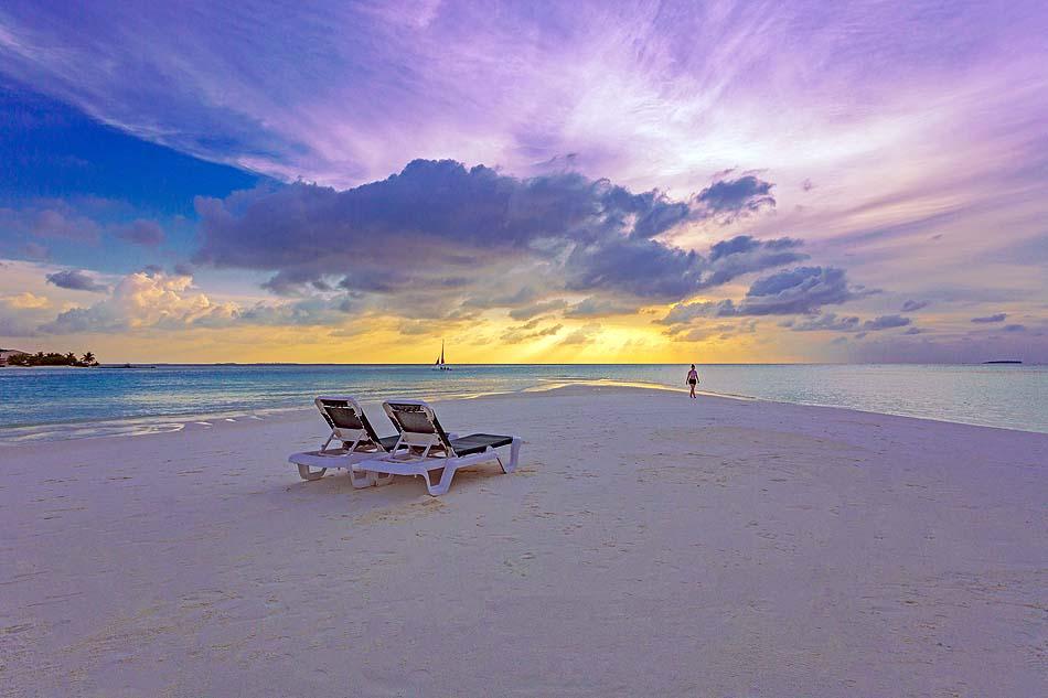 Strand, Sonnenuntergange, Liegestühle, Meeru Island Resort