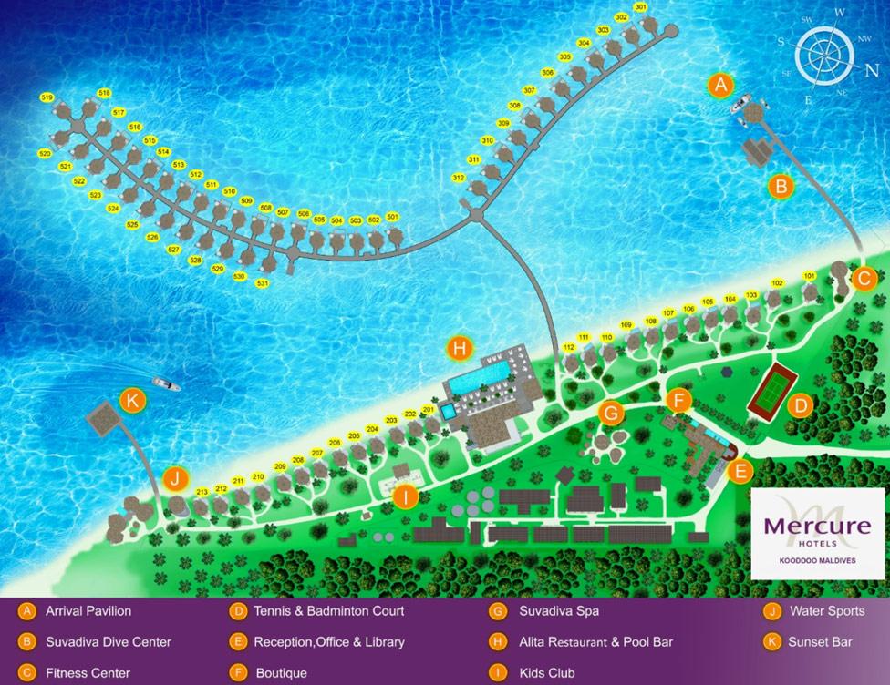 Lageplan Mercure Maldives Kooddoo Resort