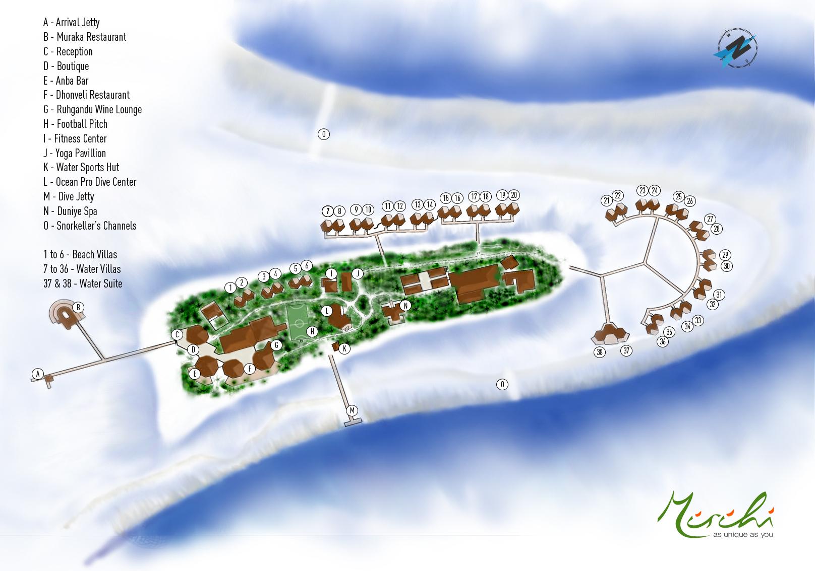 Lageplan Mirihi Island Resort