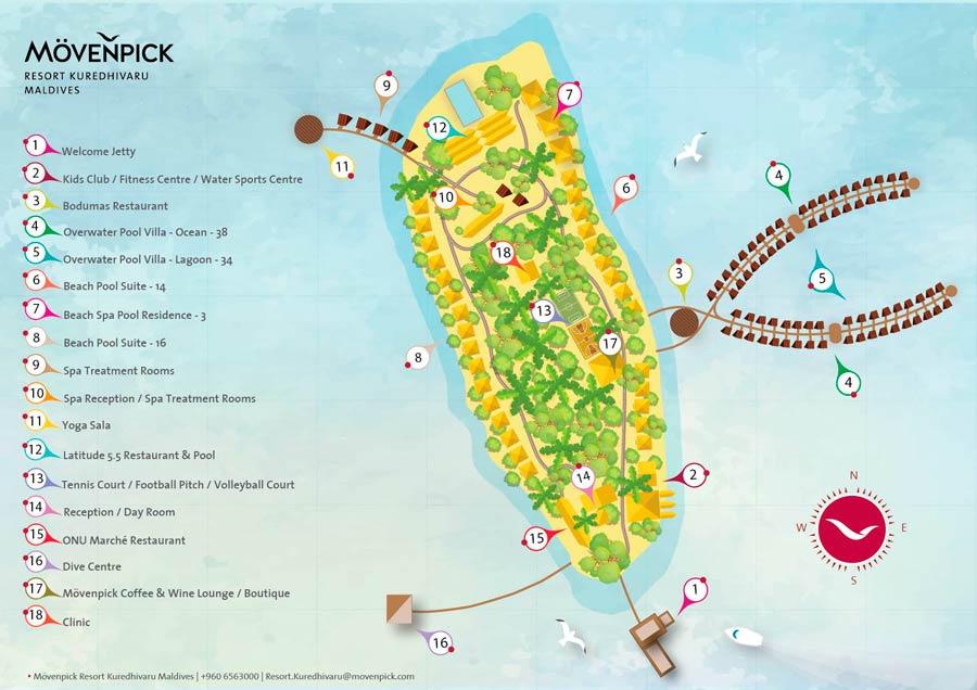 Lageplan Mövenpick Resort & Spa Kuredhivaru