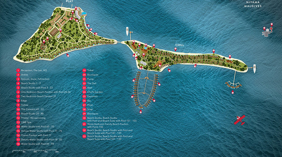 Lageplan Niyama Private Islands Maldives