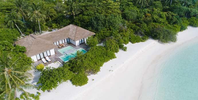 Drohnenaufnahme, Beach 2-Bedroom Pool Villa, Noku Maldives