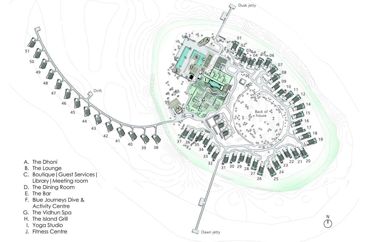 Lageplan Park Hyatt Maldives Hadahaa