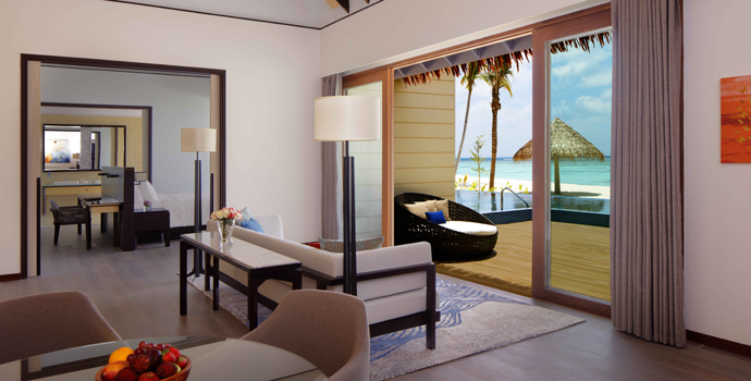 Wohnen, 2 Bedroom Beach Suite Villa with Private Pool, Radisson Blu Resort Maldives