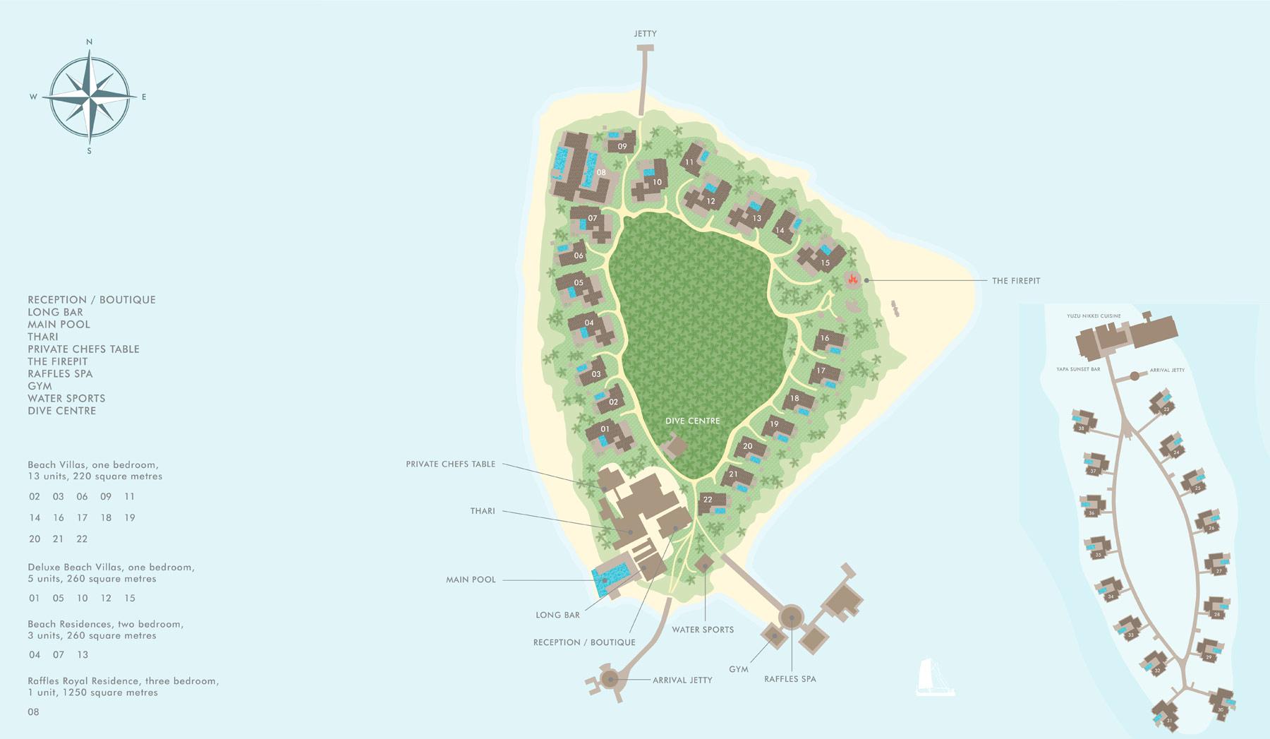Lageplan Raffles Maldives Meradhoo