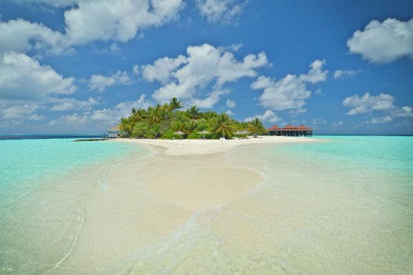 Blick auf die Insel vom Meer, Ranveli Island Resort, Malediven