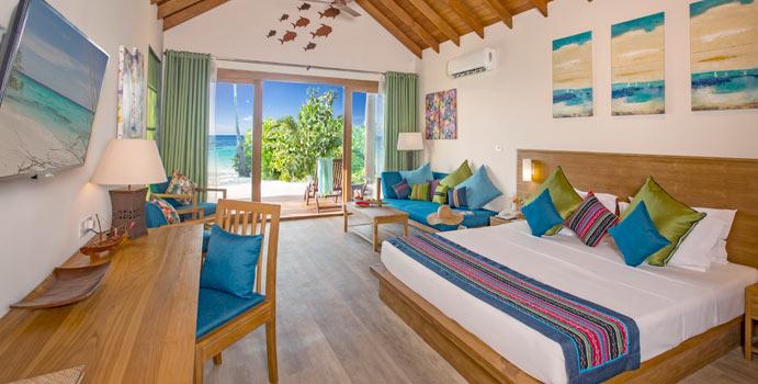 Wohnen, Deluxe Beach Villa, Reethi Faru Resort