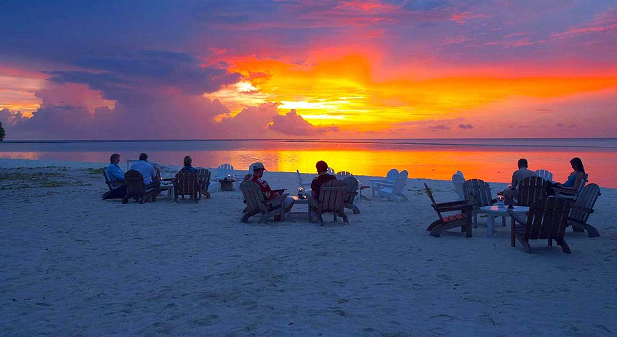 Sonnenuntergang am Strand, Rihiveli The Dream Resort
