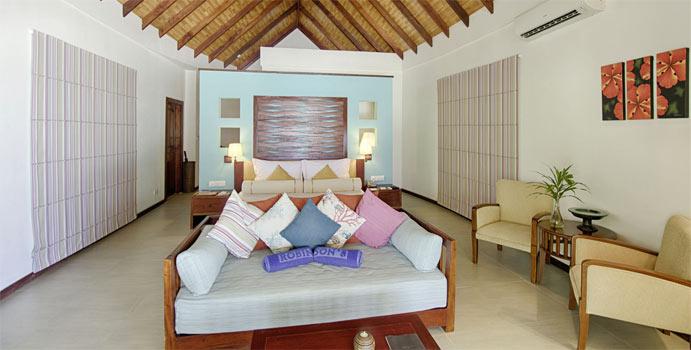 Wohnen, Strandbungalow Meerblick, ROBINSON Club Maldives