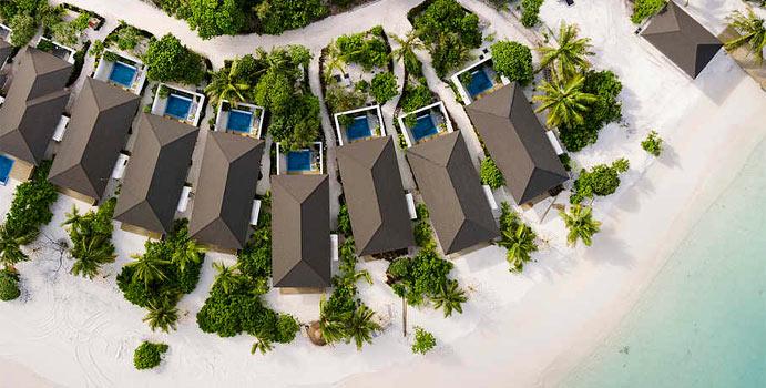 Luftaufnahme, Strandbungalow Garten Pool, ROBINSON Club Noonu