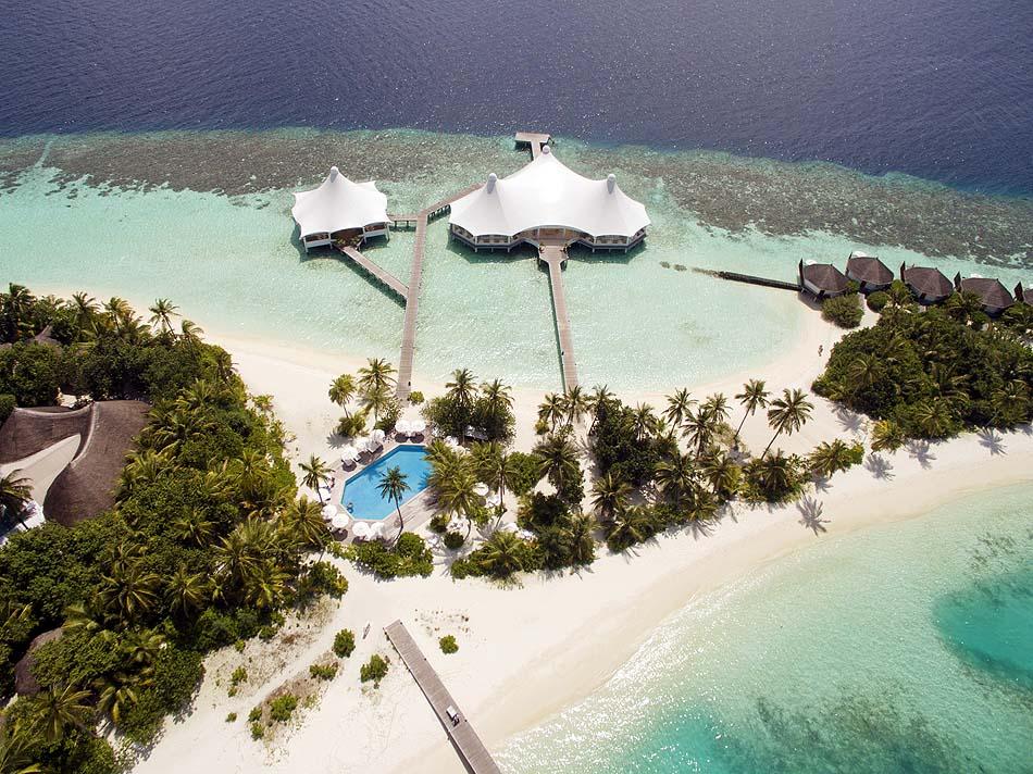 Vogelperspektive Restaurant und Insel,Safari Island Resort, Maldives
