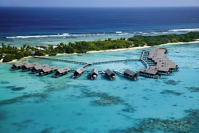 Luftaufnahme, Vogelperspektive, Wasservillen, Shangri-La's Villingili Resort & Spa, Malediven