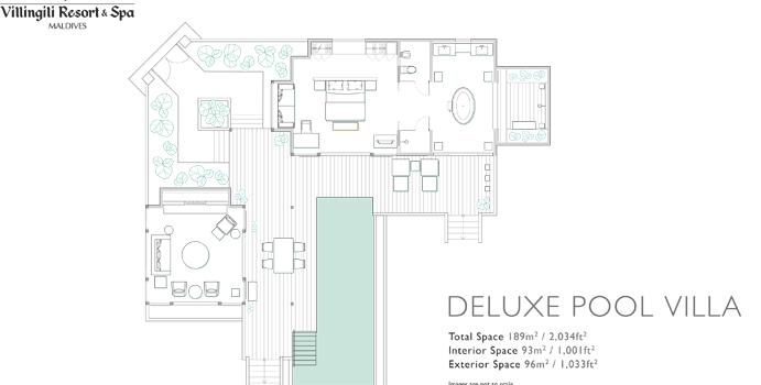 Grundriss, Deluxe Pool Villa - Shangri La's Villingili Resort & SPA