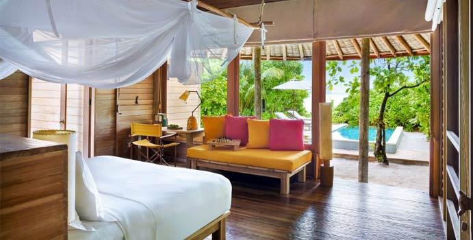 Wohnen und Pool, Ocean Beach Villa with Pool, Six Senses Laamu