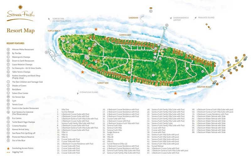Lageplan Soneva Fushi Resort & Six Senses Spa