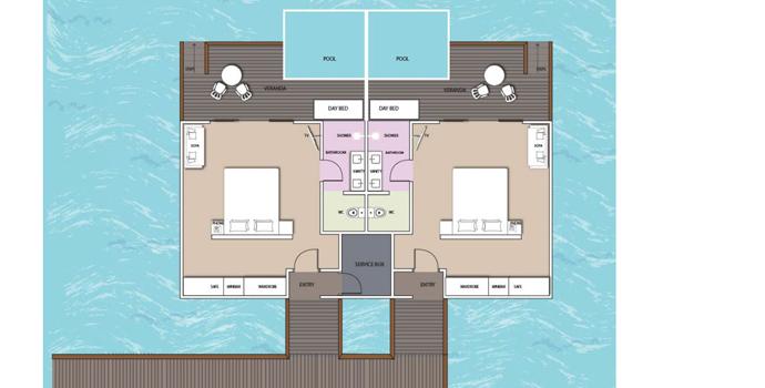 Floorplan, Overwater Pool Villa, South Palm Maldives